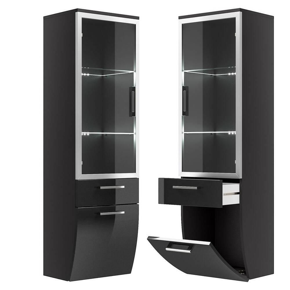 hochschrank mit glast r rimao 100 hochglanz anth. Black Bedroom Furniture Sets. Home Design Ideas