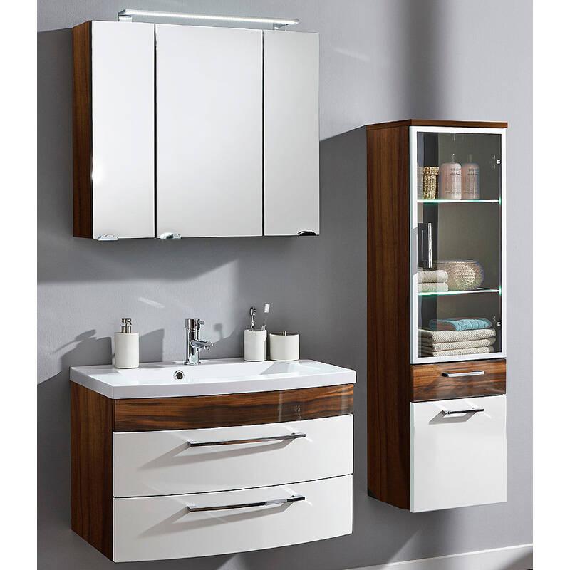 badm bel set rimao 02 hochglanz wei waln. Black Bedroom Furniture Sets. Home Design Ideas
