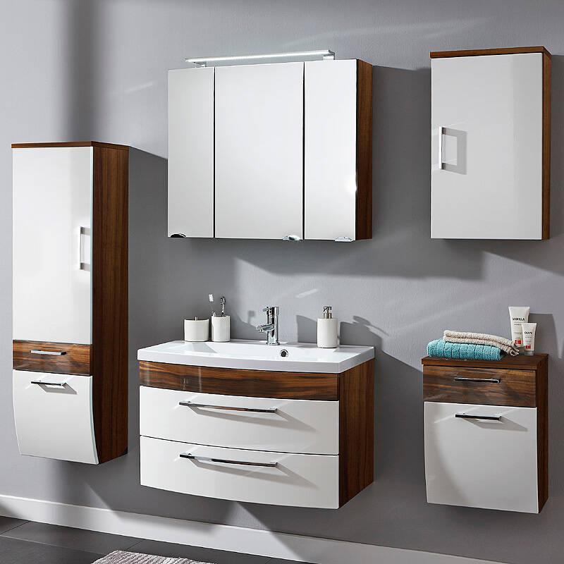 Komplett Badmöbel Set 80cm Waschtisch & LED Spiegelschrank RIMAO-02 Hochglanz weiß, Walnuss B x H x T: ca. 202 x 190 x 48,5 cm