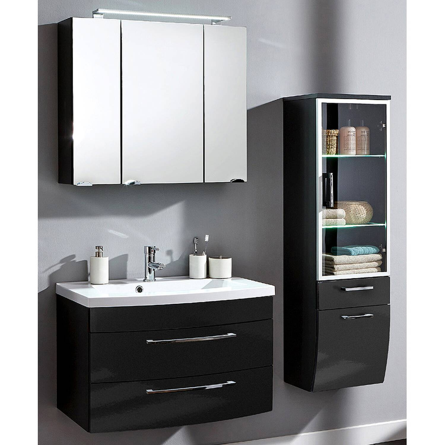 badm bel set rimao 02 hochglanz anthrazit 3 tei. Black Bedroom Furniture Sets. Home Design Ideas