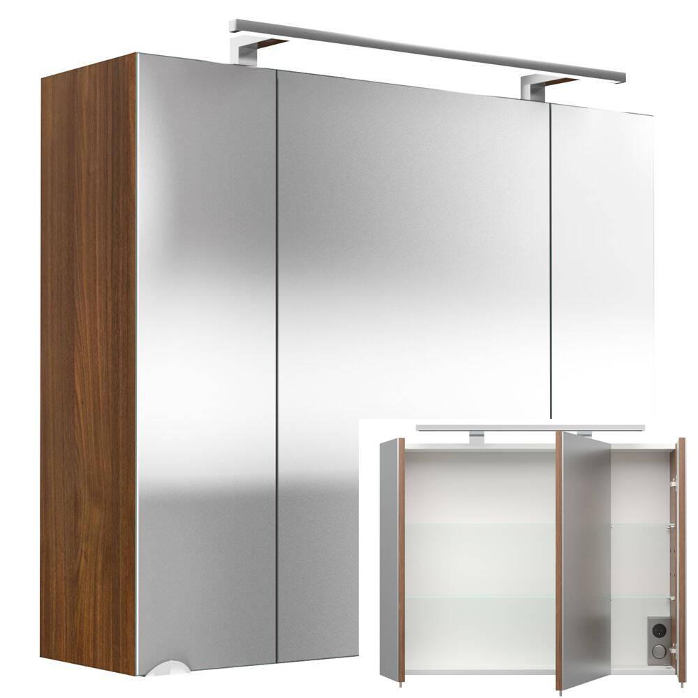 spiegelschrank rimao 100 walnuss nachbildung led beleu. Black Bedroom Furniture Sets. Home Design Ideas