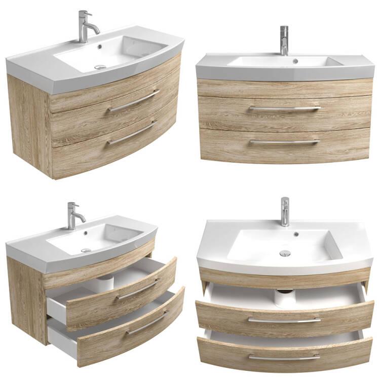Badmöbel Waschtisch Mit Unterschrank 100cm Rimao 100 Sonoma Eiche Nb