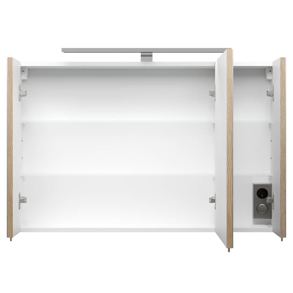 spiegelschrank rimao 100 sonoma eiche led b x h x t. Black Bedroom Furniture Sets. Home Design Ideas