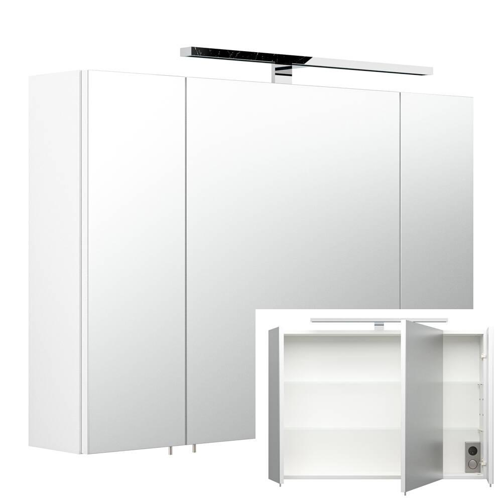 Spiegelschrank RIMAO-100 weiß, LED, verchromte Lampe, B x H x T ca. : 90 x 68 x 20,5 cm