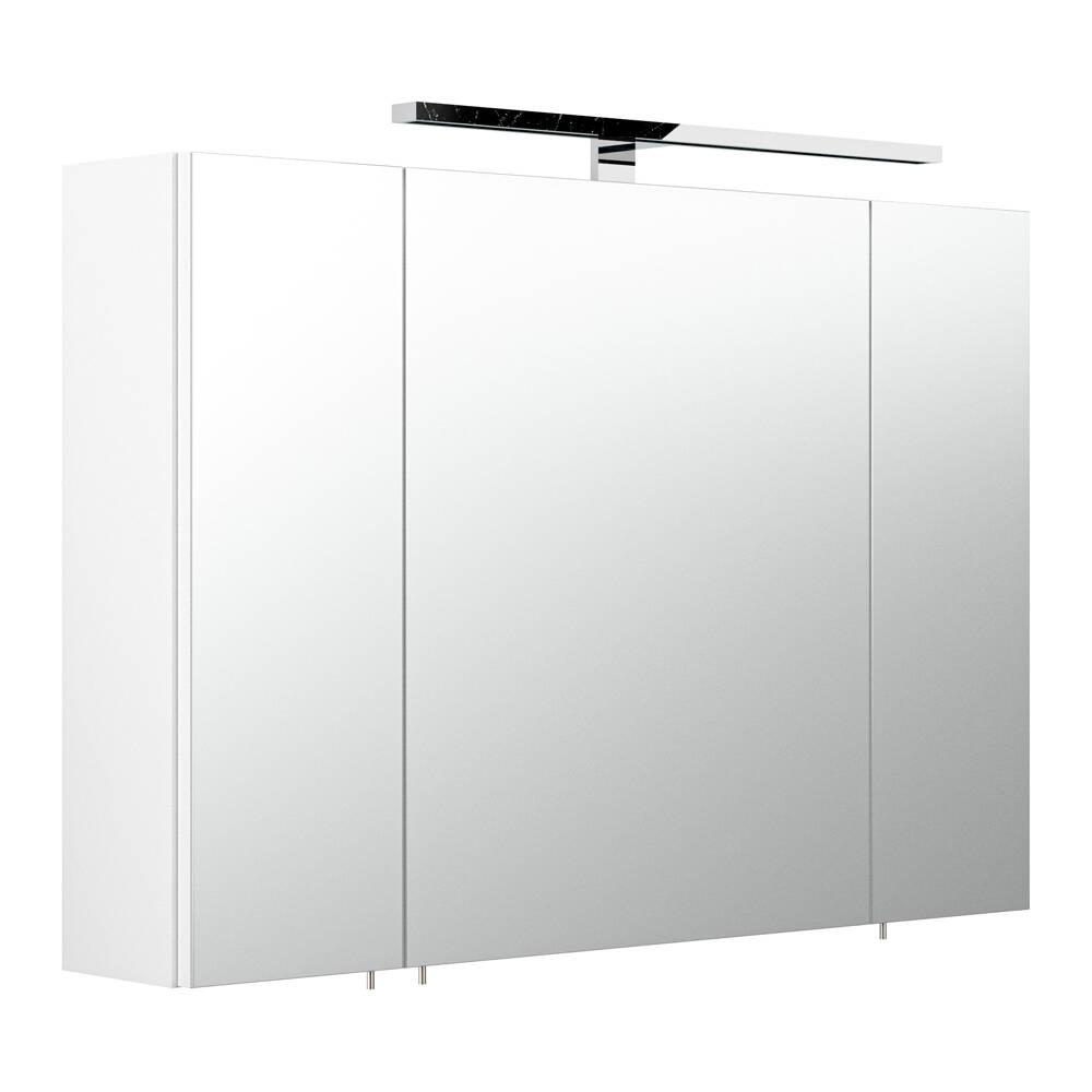 spiegelschrank rimao 100 wei led verchromte. Black Bedroom Furniture Sets. Home Design Ideas