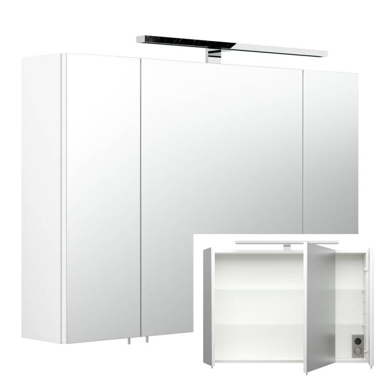 spiegelschrank rimao 100 wei led verchromte lampe. Black Bedroom Furniture Sets. Home Design Ideas
