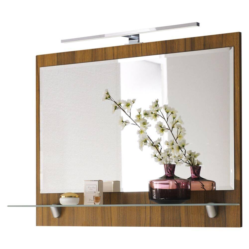 Spiegel RIMAO-100 Walnuss Nb, LED, verchromte Lampe, 90cm