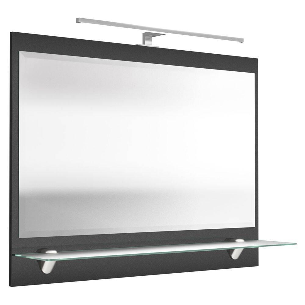 Spiegel RIMAO-100 anthrazit, LED, verchromte Lampe, 90cm