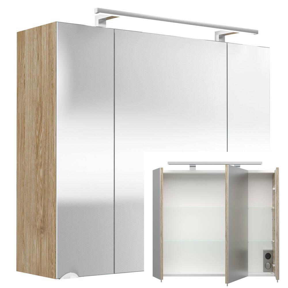 Spiegelschrank RIMAO-100 Sonoma Eiche, LED-Beleuchtung, B x H x T: ca. 80 x 68 x 20 cm