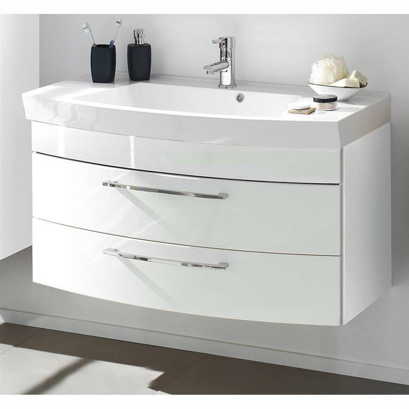 badm bel set rimao 100 hochglanz wei 100cm. Black Bedroom Furniture Sets. Home Design Ideas