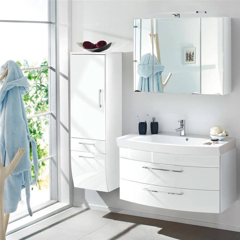 Badmöbel Set RIMAO-100 Hochglanz weiß, 100cm Waschtisch, B x H x T: ca. 160 x 200 x 57 cm