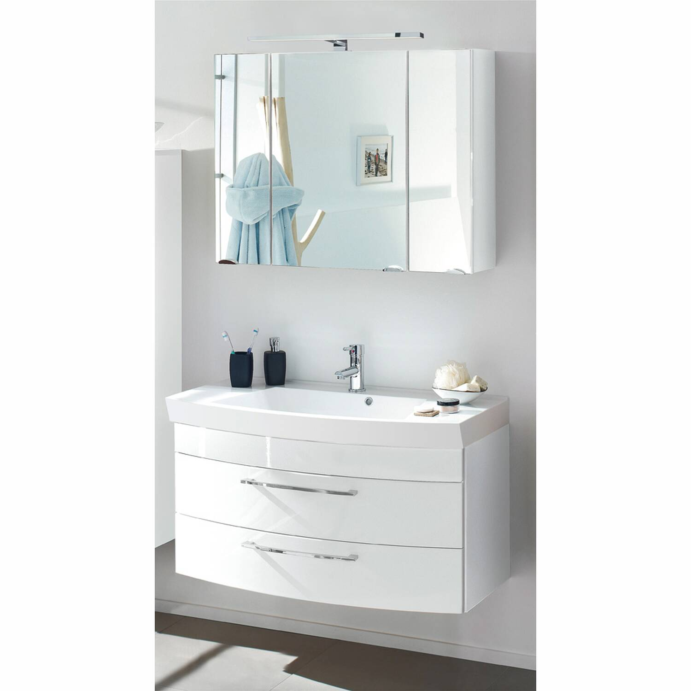 Badmöbel Waschplatz Set RIMAO-100 Hochglanz weiß, LED-Spiegelschrank, 100cm Waschtisch, B x H x T ca.: 100 x 200 x 57 cm