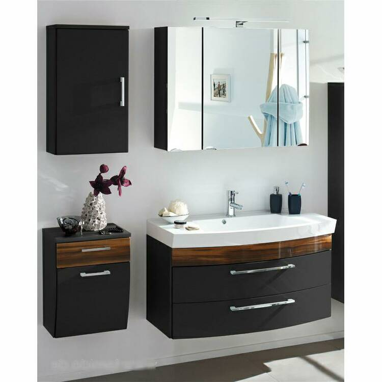 badm bel set rimao 100 hochglanz anthrazit walnuss n. Black Bedroom Furniture Sets. Home Design Ideas
