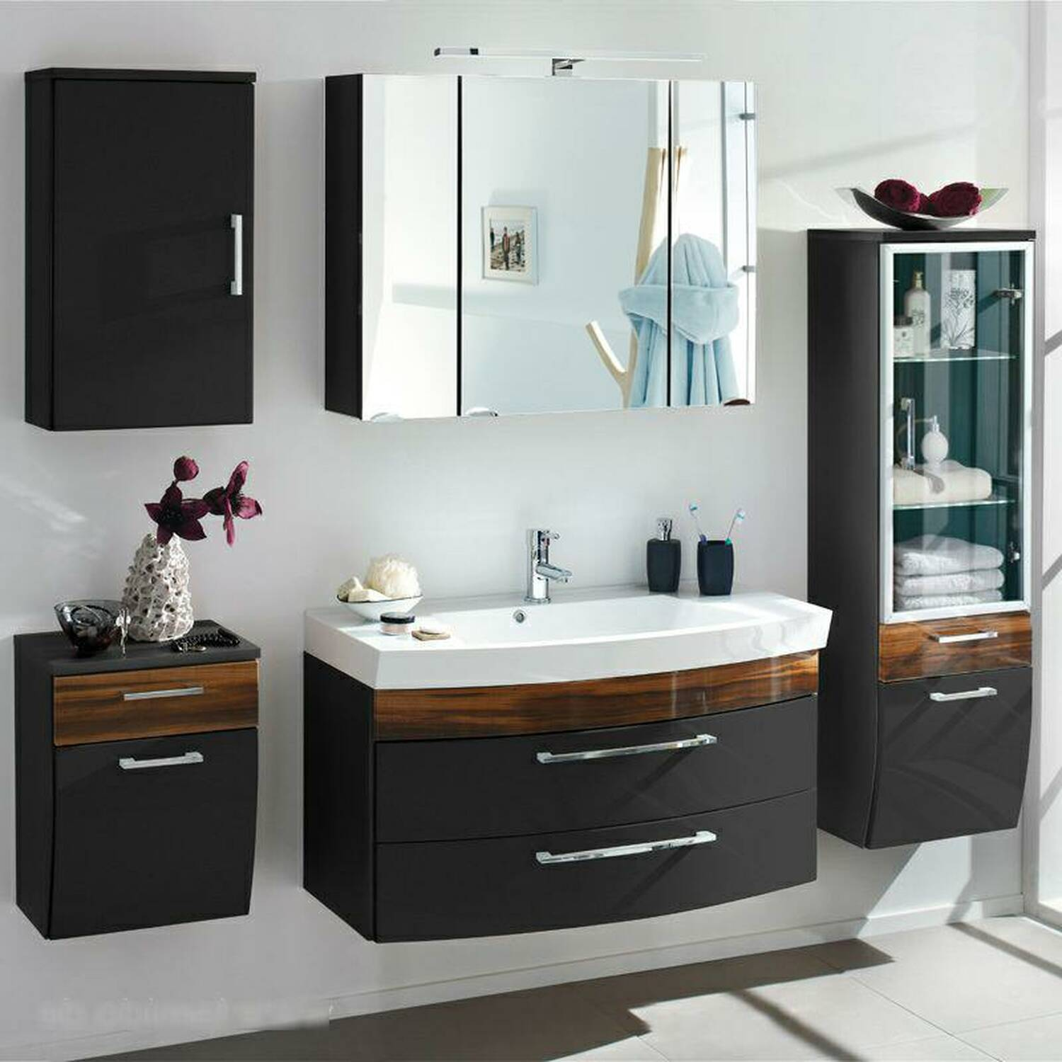 badm bel set rimao 100 hochglanz anthrazit walnus. Black Bedroom Furniture Sets. Home Design Ideas