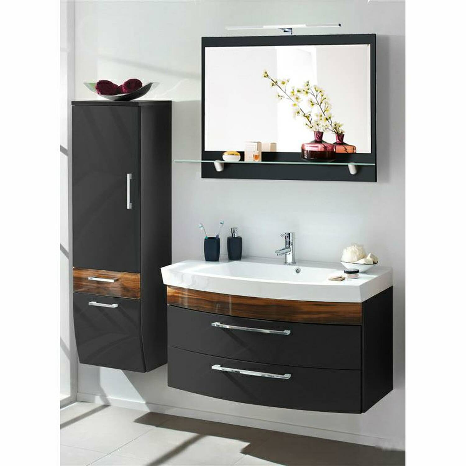 badm bel set rimao 100 hochglanz anthrazit waln. Black Bedroom Furniture Sets. Home Design Ideas