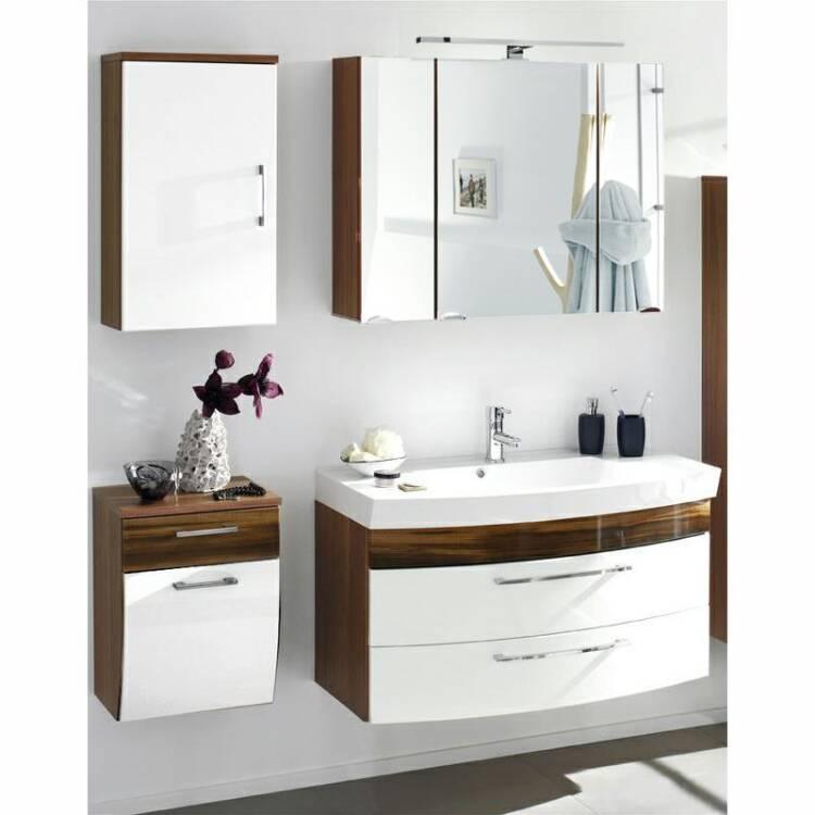 badm bel set rimao 100 hochglanz wei walnuss nb 1. Black Bedroom Furniture Sets. Home Design Ideas