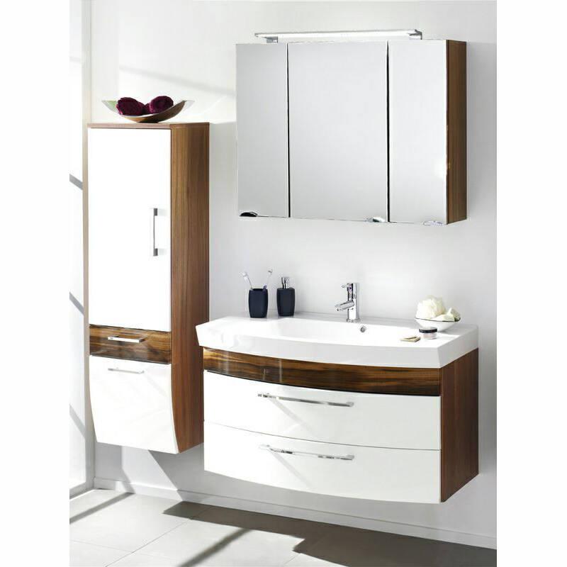 Badezimmer-Set in weiß Hochglanz und Walnuss Nb. inkl. 100cm Waschtisch (LED), B x H x T: ca. 160 x 200 x 57 cm