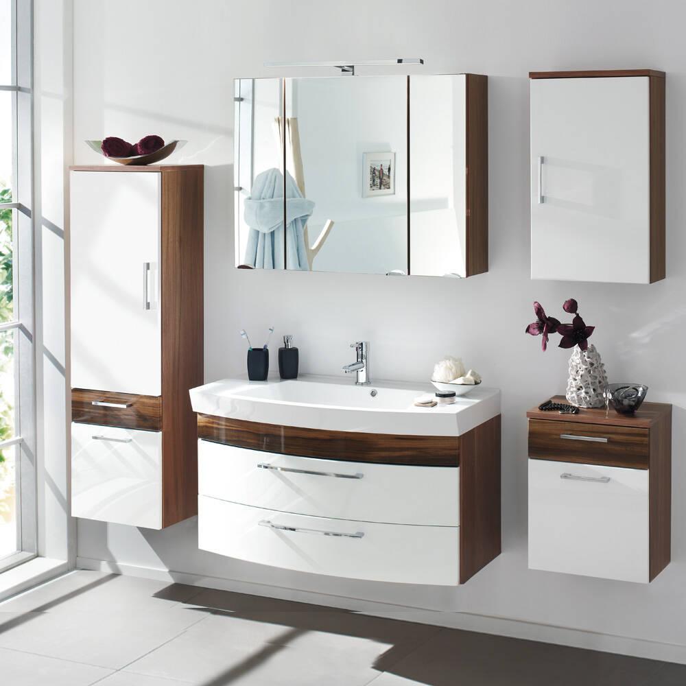 Badmöbel Komplett-Set mit 100cm Waschtisch RIMAO-100 Hochglanz weiß, Walnuss Nb., B x H x T: ca. 220 x 200 x 57 cm