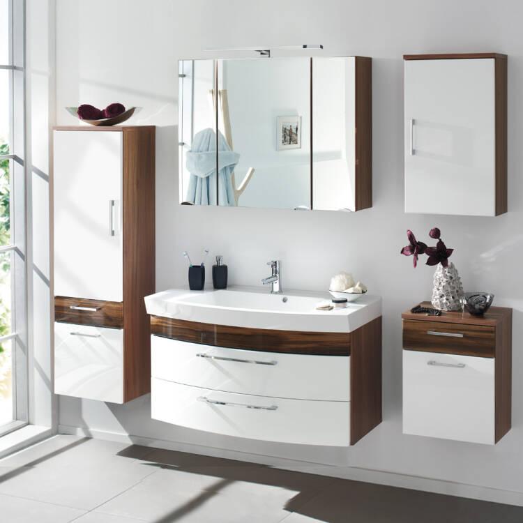 badm bel set rimao 100 hochglanz wei walnuss nb w. Black Bedroom Furniture Sets. Home Design Ideas