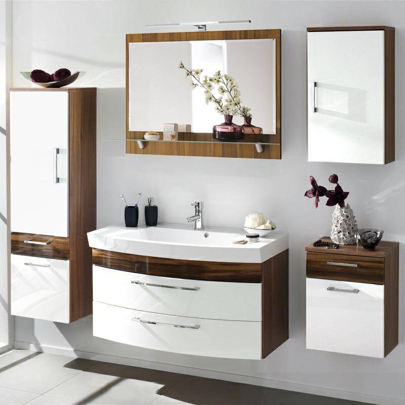 badm bel set rimao 100 hochglanz wei wal. Black Bedroom Furniture Sets. Home Design Ideas