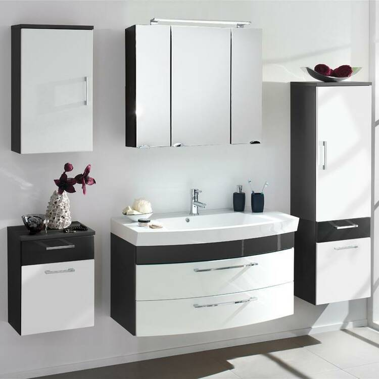 badm bel set rimao 100 hochglanz wei anthrazit gus. Black Bedroom Furniture Sets. Home Design Ideas
