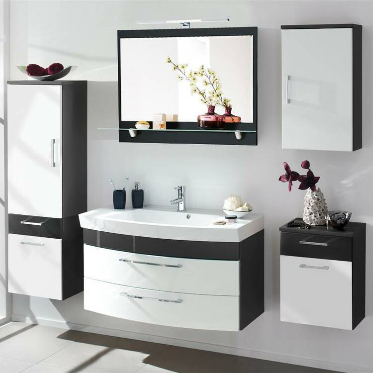 badm bel set rimao 100 hochglanz wei anthrazit 100. Black Bedroom Furniture Sets. Home Design Ideas