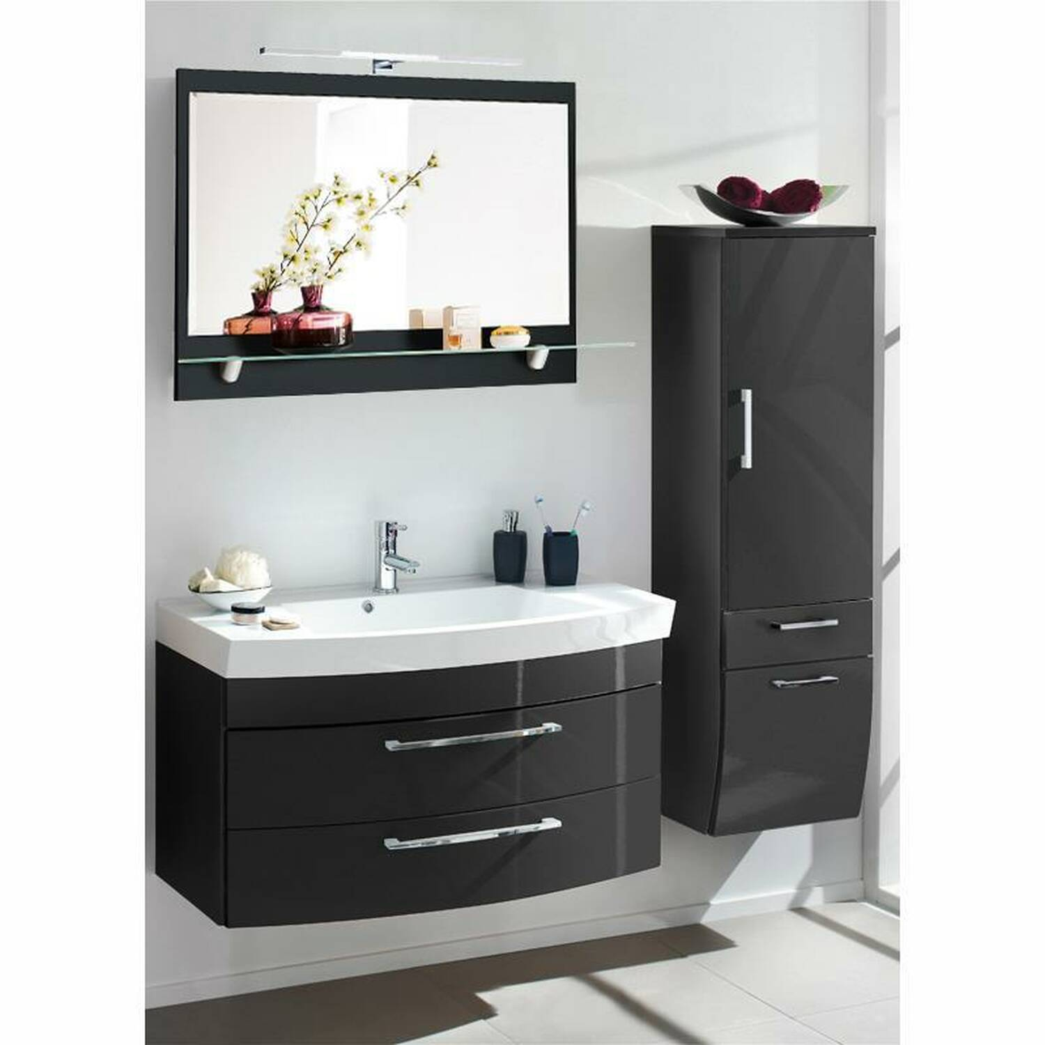 badm bel set rimao 100 hochglanz anthrazit spie. Black Bedroom Furniture Sets. Home Design Ideas