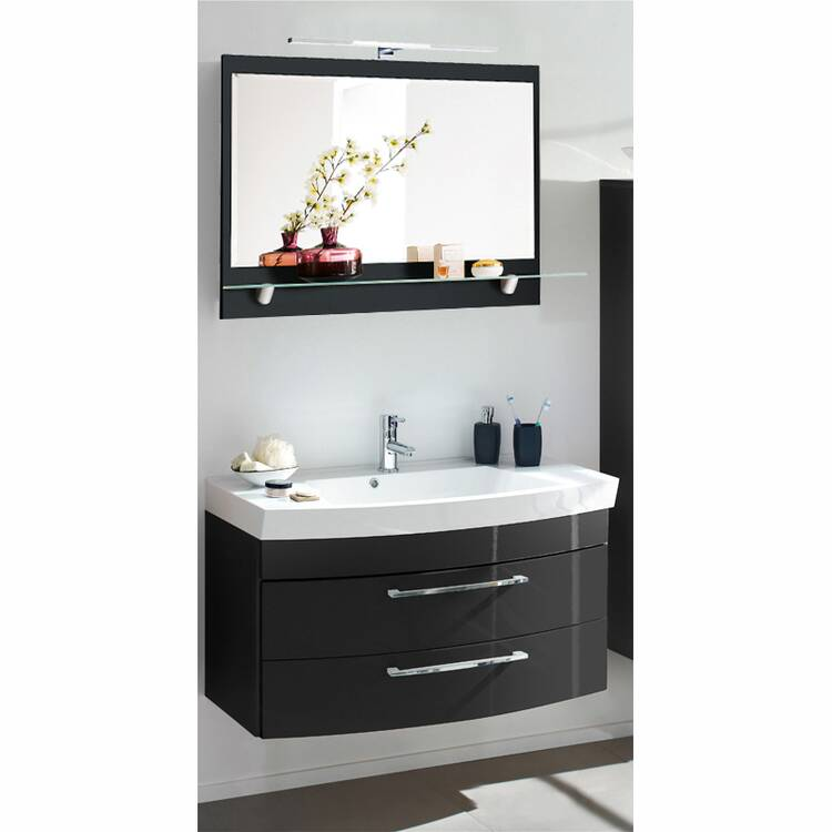 badm bel waschplatz set rimao 100 hochglanz anthrazit. Black Bedroom Furniture Sets. Home Design Ideas