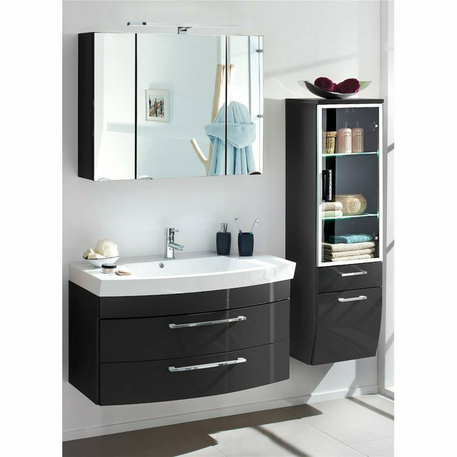 badm bel set rimao 100 hochglanz anthrazit waschp. Black Bedroom Furniture Sets. Home Design Ideas