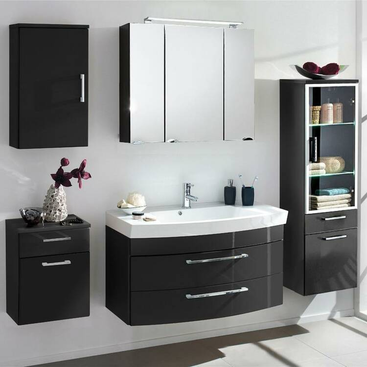 badm bel set rimao 100 hochglanz anthrazit 100cm gus. Black Bedroom Furniture Sets. Home Design Ideas