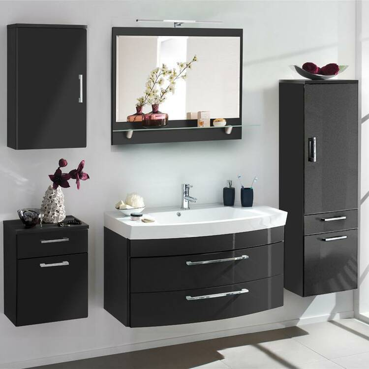 badm bel set rimao 100 hochglanz anthrazit 100c. Black Bedroom Furniture Sets. Home Design Ideas