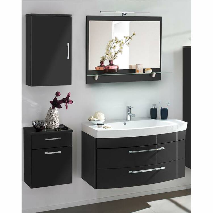 badm bel set rimao 100 hochglanz anthrazit wasc. Black Bedroom Furniture Sets. Home Design Ideas