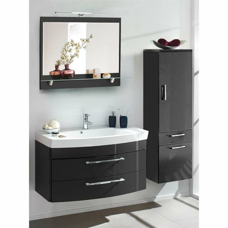 badm bel set rimao 100 hochglanz anthrazit waschplat. Black Bedroom Furniture Sets. Home Design Ideas