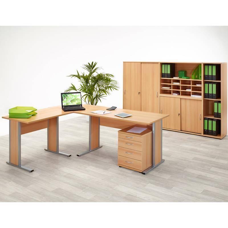 eckschreibtisch set typ4000 buche hell nachbildung 3. Black Bedroom Furniture Sets. Home Design Ideas