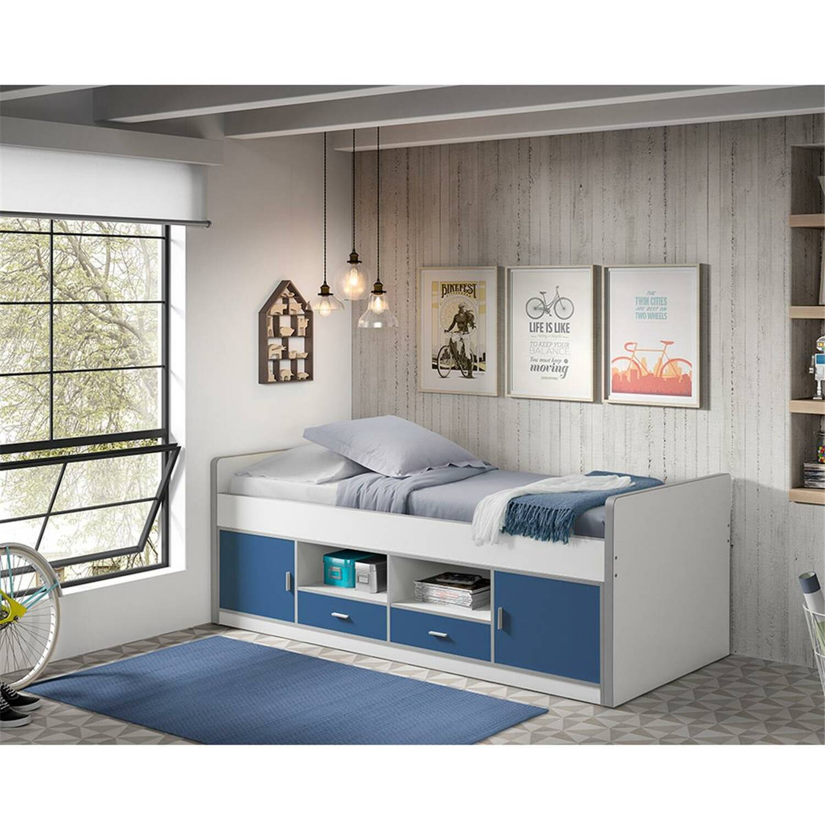 Kinderbett Jugendbett BONNY-12, 90x200cm, Weiß Blau