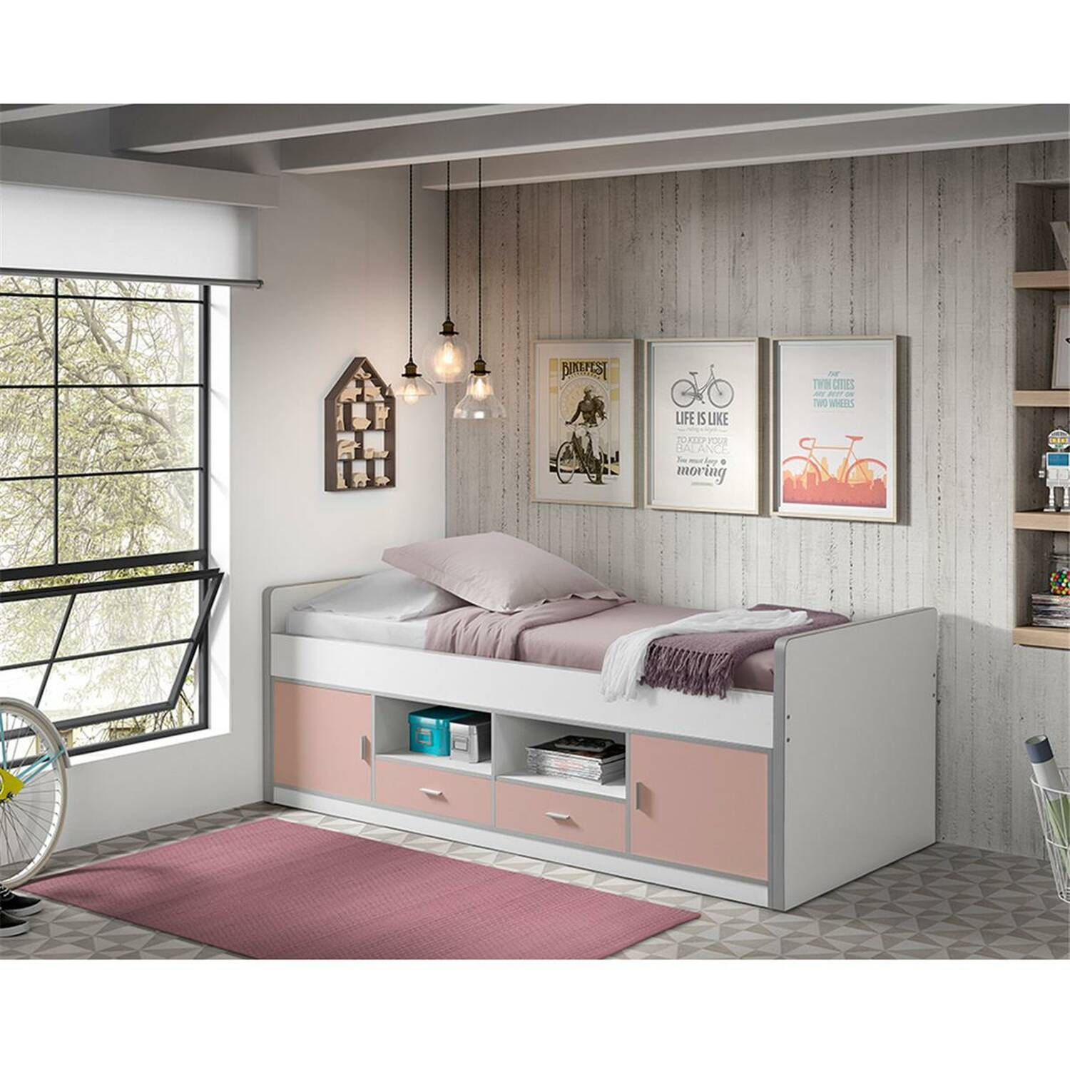 kinderbett jugendbett bonny 12 90x200cm wei. Black Bedroom Furniture Sets. Home Design Ideas