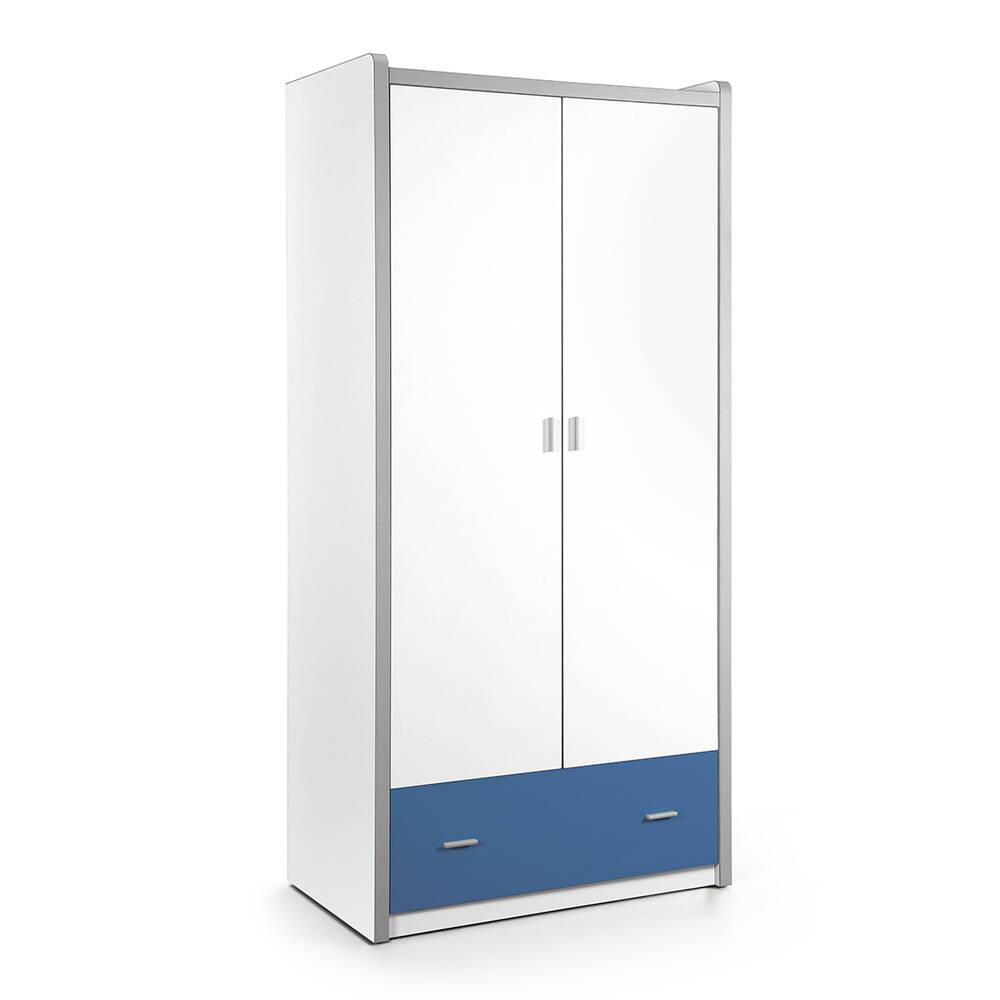Kleiderschrank BONNY-12, 2-trg, 100cm, Weiß Blau
