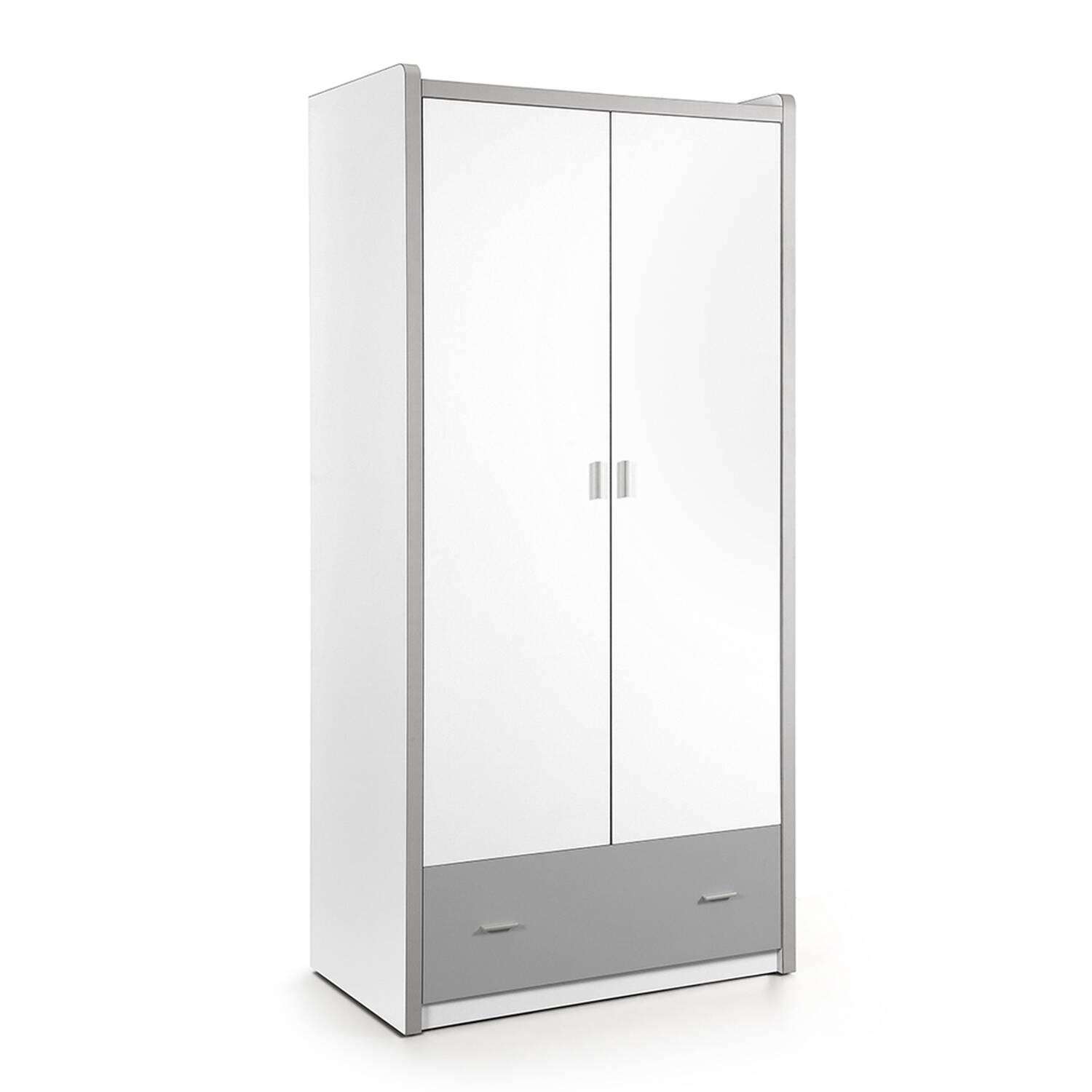 Kleiderschrank BONNY-12, 2-trg., 100cm, Weiß Silbergrau