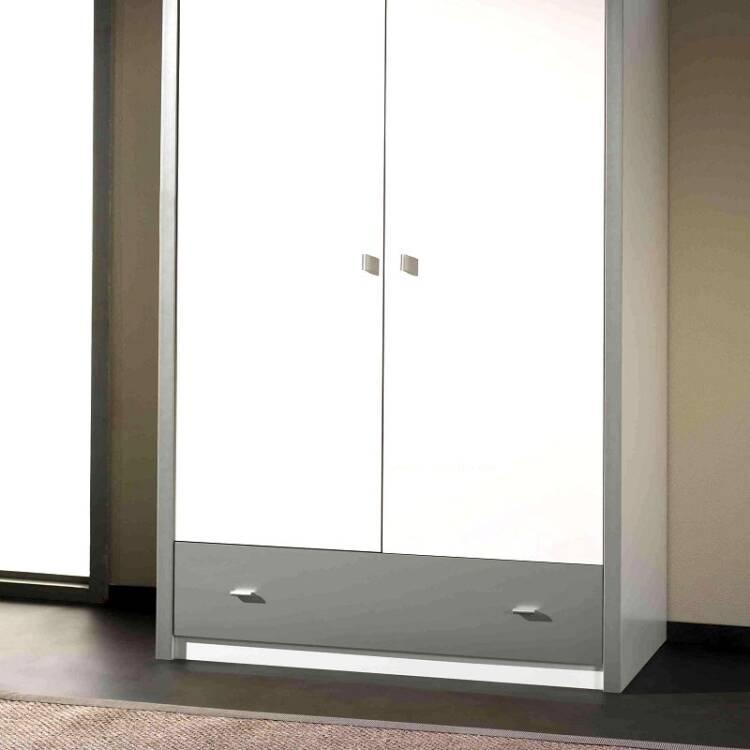 kleiderschrank bonny 12 2 trg 100cm wei silbergr. Black Bedroom Furniture Sets. Home Design Ideas