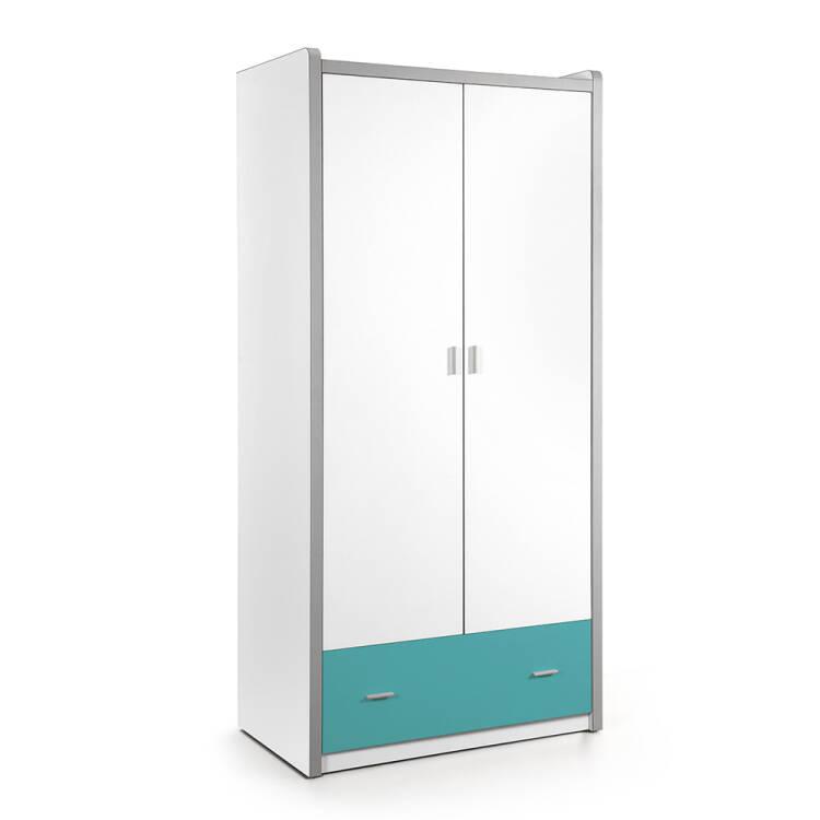 kleiderschrank bonny 12 2 trg 100cm wei t rkis. Black Bedroom Furniture Sets. Home Design Ideas
