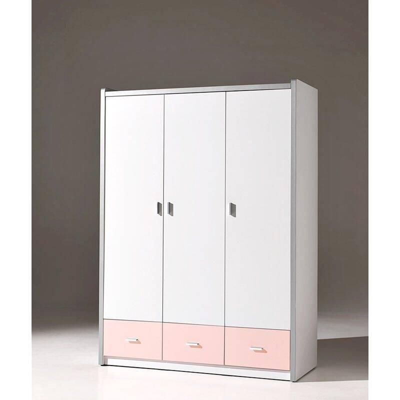 kleiderschrank bonny 12 3 trg 147cm wei rosa. Black Bedroom Furniture Sets. Home Design Ideas