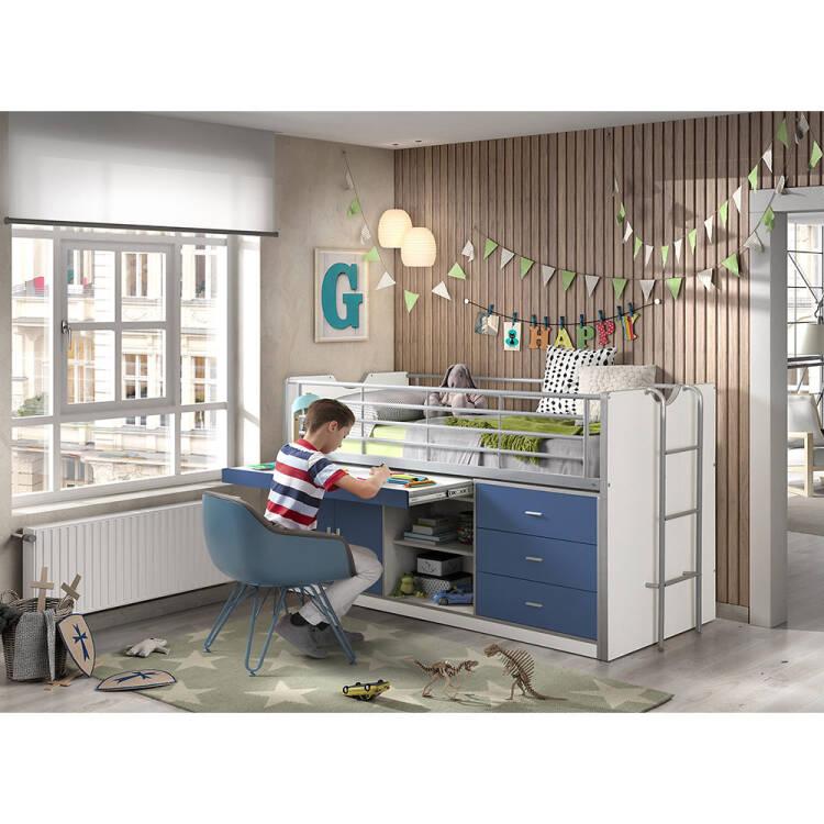 kinderbett mit schreibtisch bonny 12 90x200cm wei s. Black Bedroom Furniture Sets. Home Design Ideas