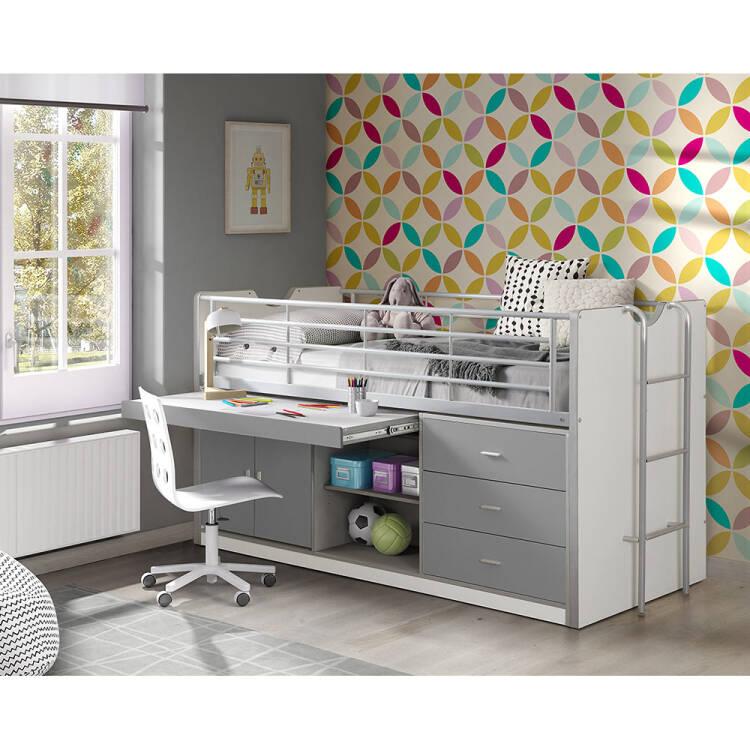 kinderbett mit schreibtisch bonny 12 90x200cm wei. Black Bedroom Furniture Sets. Home Design Ideas