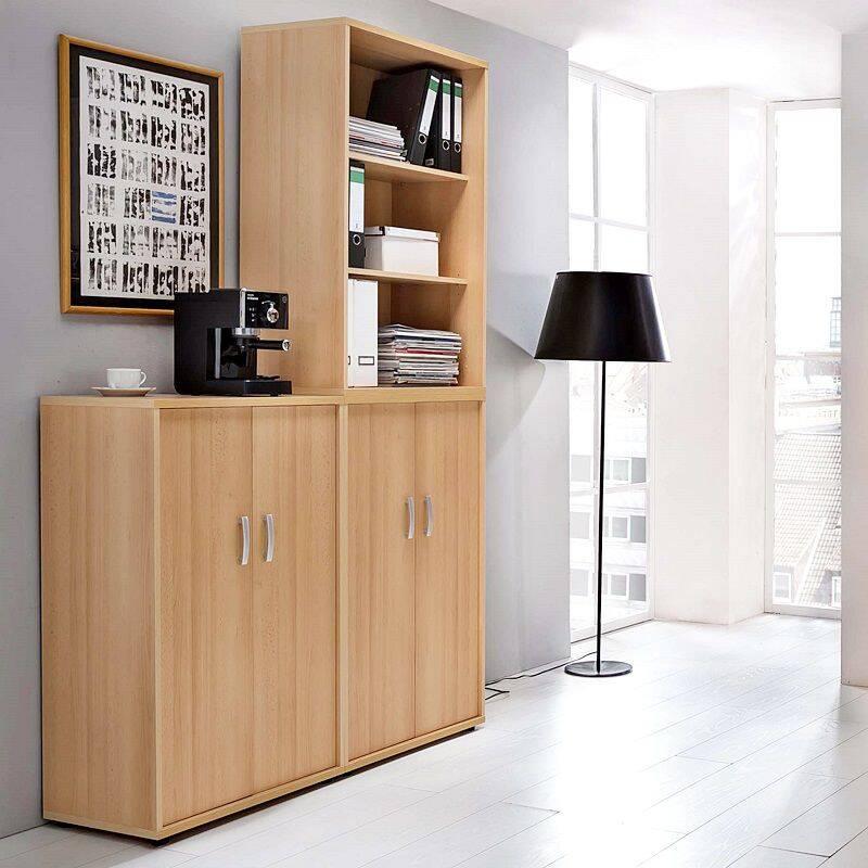 Büromöbel Aktenschrank & Aktenregal Set TYP1900, Samerberg-Buche Nb., (3-teilig)