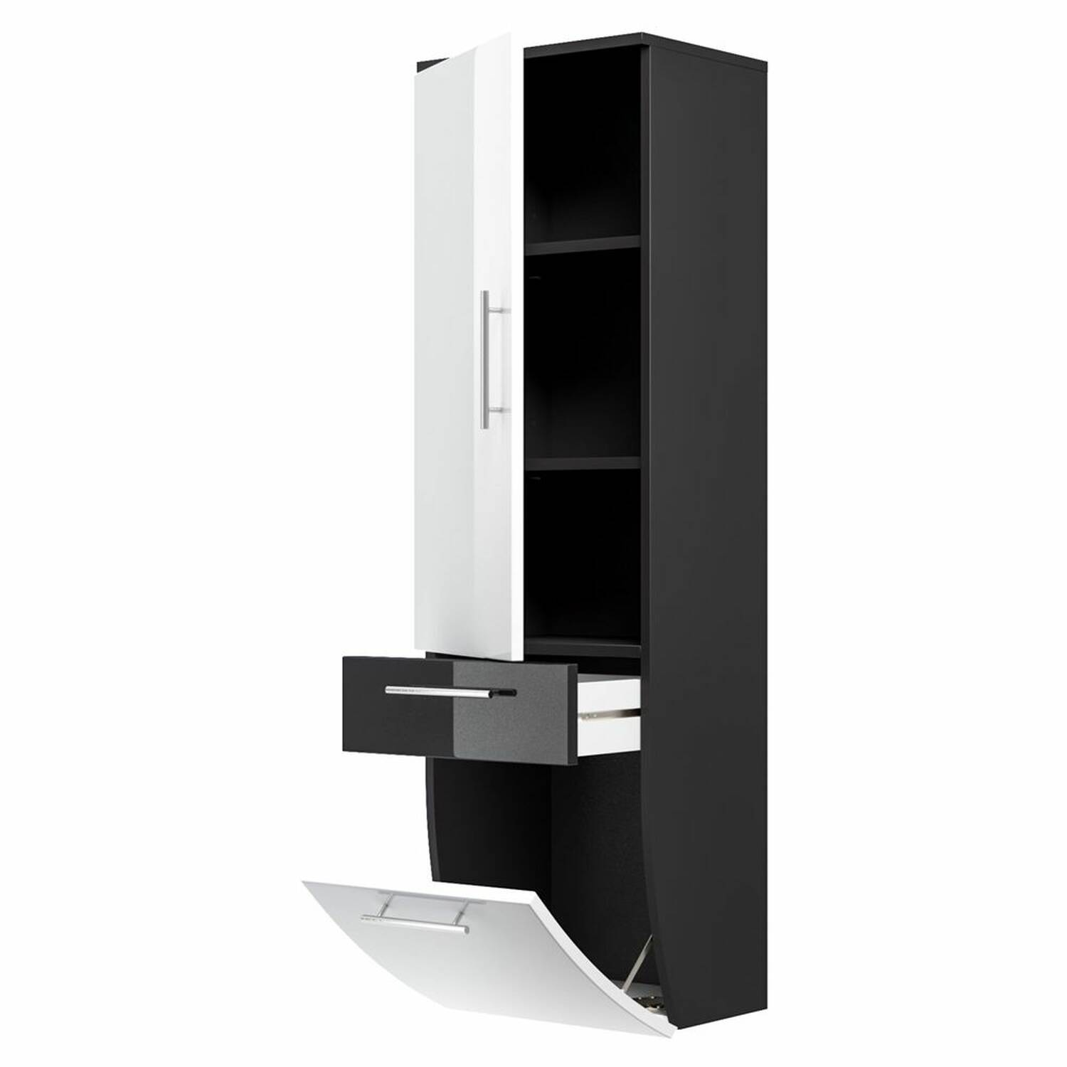 hochschrank talona 02 hochglanz wei anthrazit. Black Bedroom Furniture Sets. Home Design Ideas