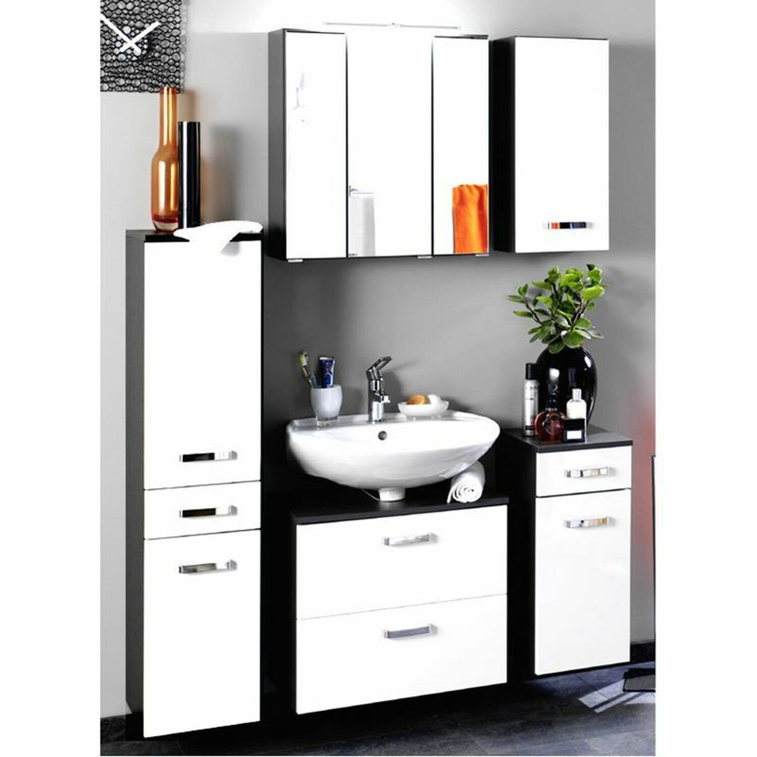 h ngeschrank padua 03 hochglanz wei grap. Black Bedroom Furniture Sets. Home Design Ideas