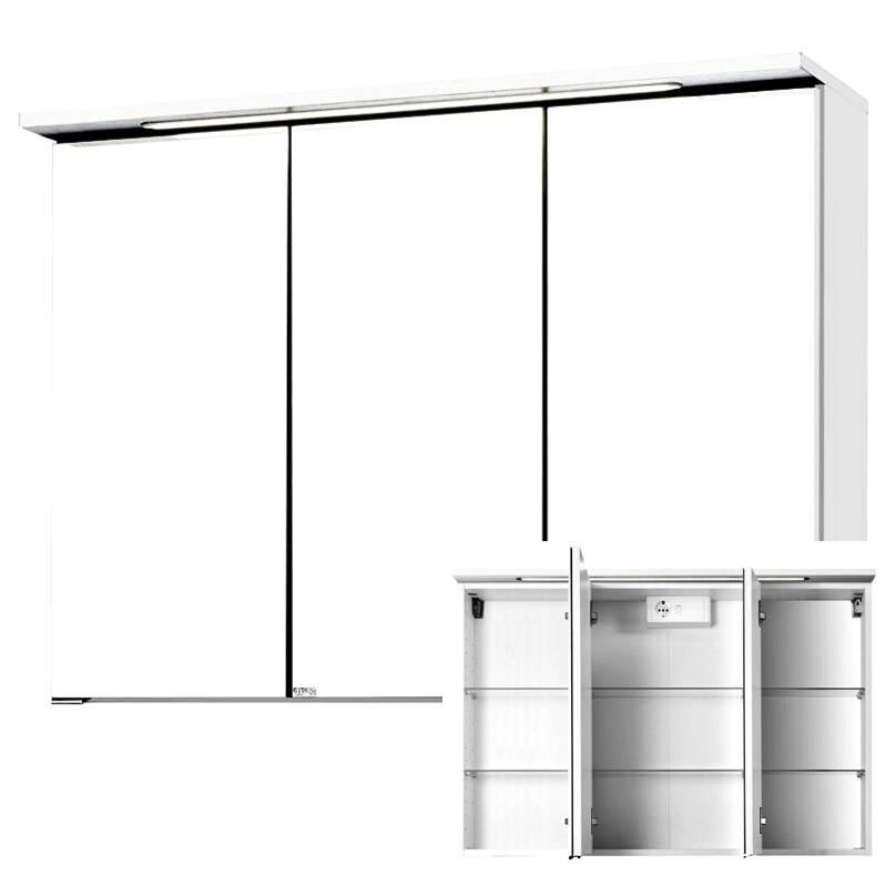 Spiegelschrank PADUA-03 / FLORIDO-03 weiß, LED, B x H x T: 100 x 66 x 20cm