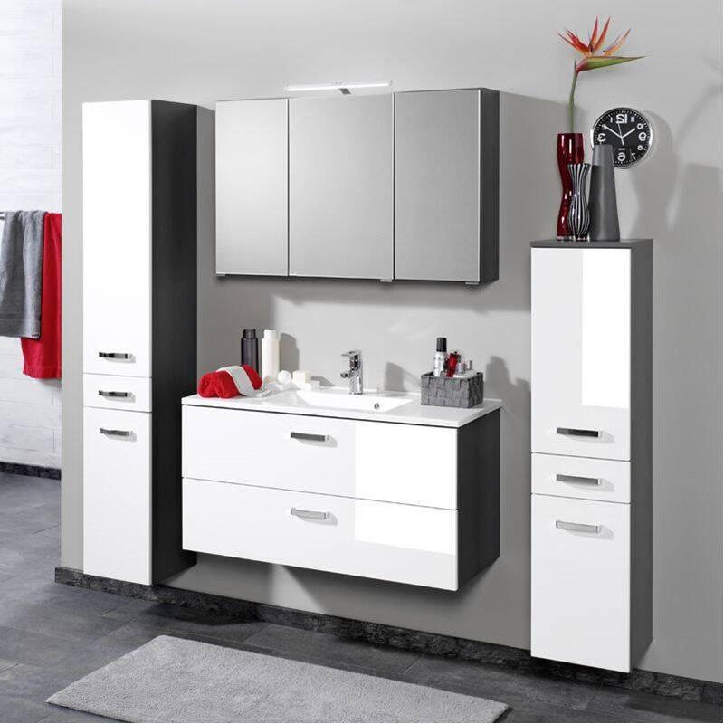 10% Badmöbel Set PADUA 03 Hochglanz Weiß, Graphitgrau, Waschplatzbreite  Wählbar Von 60 100cm