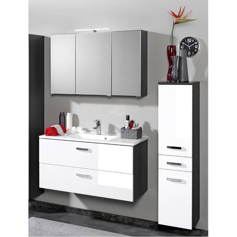 Badmöbel Set PADUA-03 Hochglanz weiß, graphitgrau Waschplatz 80cm günstig online kaufen