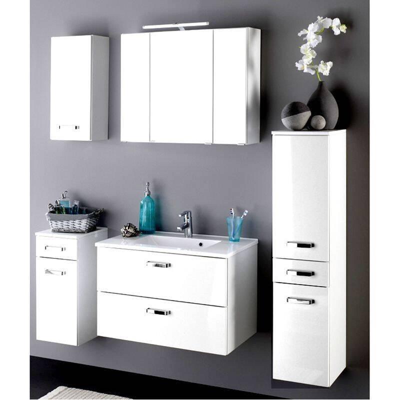 Badmöbel Set PADUA-03 Hochglanz weiß, Waschplatzbreite wählbar von 60-100cm (5-teilig)